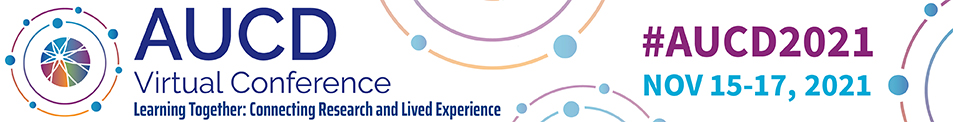 Conference Header: AUCD Virtual Conference - Learning Together: Connecting Research and Lived Experience - Nov 15-17, 2021